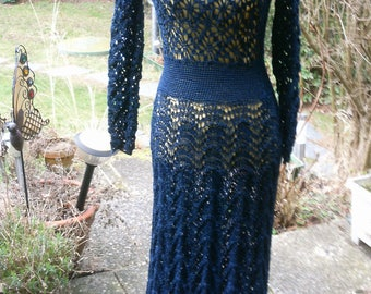 Knitting-Crochet dress, dark.-blue, size 36-38