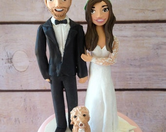 Custom clay wedding cake topper