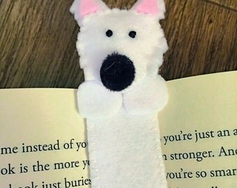 Handmade Felt Westie Dog Bookmark