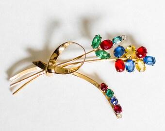 Gold Toned Vintage Colorful Flower Brooch