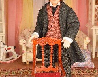 Miniature Doll Polymer Clay  Miniature 12th Scale Dollhouse Gift Realistic Collectible Dollhouse people Viktorian  Miniature man doll