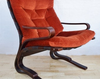 Mid Century Retro Norwegian Oddvin Ryyken 'Pirate' Lounge Easy Arm Chair 1960s