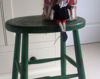 Vintage Green Painted Wooden Stool
