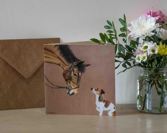 Milly & Molly - Jack Russell and Horse Greetings Card