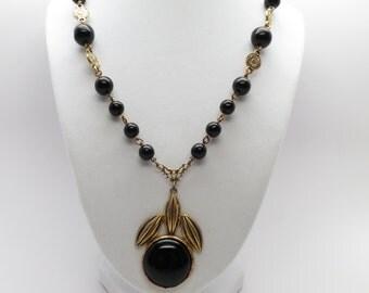 "Vintage Black Bead Simulated Onyx Necklace 17 3/4"" with Bezel Set 2 1/4"" Drop"