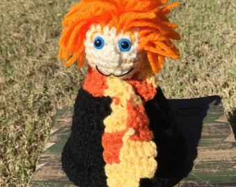 Boy with orange hair doll handmade crochet