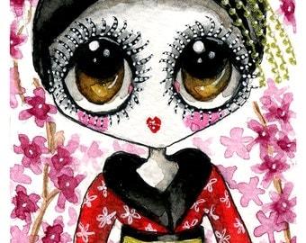 Cherry Blossom Geisha 5x7 print