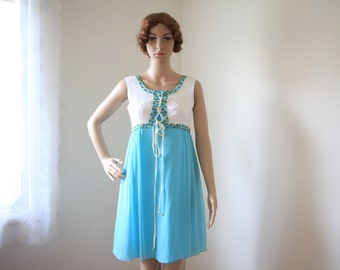 1960s Dress Empire Turqoise and White Small Medium 1970s