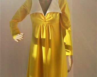 Vintage Canary Yellow Knit Dress with Disco Collar or Sailor Collar - Stellar Dress!