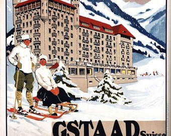 Vintage Gstaad switzerland Winter Palace Hotel Tourism Poster A3/A2/A1 Print