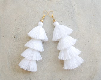 Pure White Four Layered Tassel Earrings