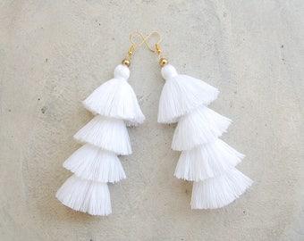 Pure White Four Layered Tassel Earrings