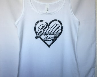 Ladies Bully Love design tank White