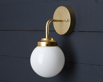 Milk Glass Globe Brass Wall Sconce
