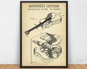 Acoustic Guitar Patent Prints, Musician Gifts, Guitar Poster Printable, Music Room Wall Art, Studio Decor, Digital Download Blueprint Art