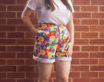 Super colourful light denim floral high waisted shorts size 12