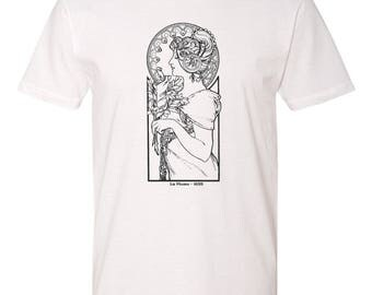 Men's White Cotton T-Shirt Mucha Art Nouveau Artist Series