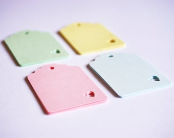 20 Pastel Mini Heart Tags