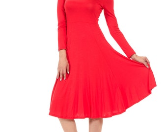 Long Sleeve Fit and Flare Midi Dress Red