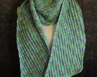 Sale - Handmade Crocheted Scarf - Blue Green purple