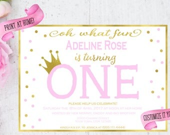 First Birthday Invite - Pink and Gold Polka Dots First Birthday Party Invitation - Pink and Gold First Birthday Inviation - Print at home