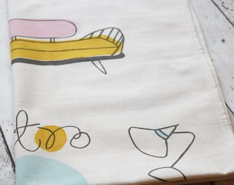 SALE Tea Towel Hand Screen Printed - Retro Style – cotton