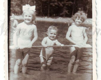 Vintage Photo - Children photo - Children playing with water - Lake - Little girl boy - Vintage Snapshot - Polish Photo - Summer time