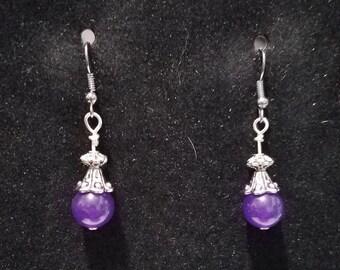 Elegant Purple Jade and Tibetan Silver Dangle Earrings on Black Chrome Fish Hook Findings Reduced for Christmas Sale!
