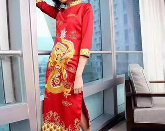 Quarter-Sleeve Mandarin Qipao Dress (Red or Black