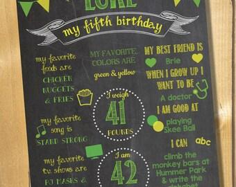 Custom birthday chalkboard digital sign, blackboard, birthday sign, printable, 2nd birthday, 3rd birthday, 4th birthday, 5th birthday