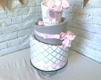 Pink elephant baby shower diaper cake pink elephant baby pink elephant diaper cake elephant baby shower pink and gray baby shower decor pink and gray negle Choice Image