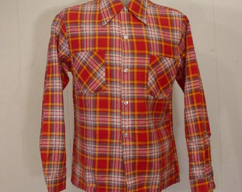 Vintage, 1970s shirt, vintage flannel shirt, red, plaid flannel cotton, new, NOS, small