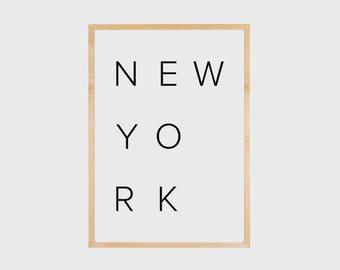 New York Print, New York Poster, City Print, Minimalist Poster, City Art, Typography Print, NY Print, New York, City Poster, Printable