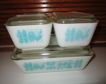 Pyrex Butterprint Refrigerator Dishes, 501 (2), 502, 503, Amish Butterprint, Aqua on White, ALL have lids