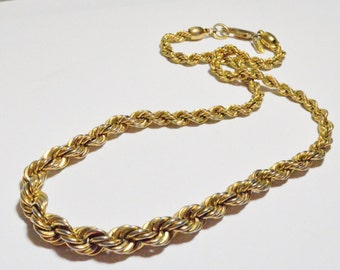 Vintage Monet Signed Graduated Rope Chain Gold Tone Necklace
