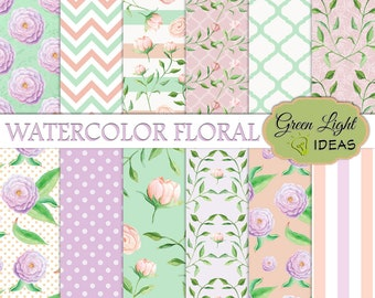 Watercolor Floral Digital Papers, Watercolor Flowers Scrapbook Papers, Spring Backgrounds, Spring Digital Papers, Watercolor Wedding Papers