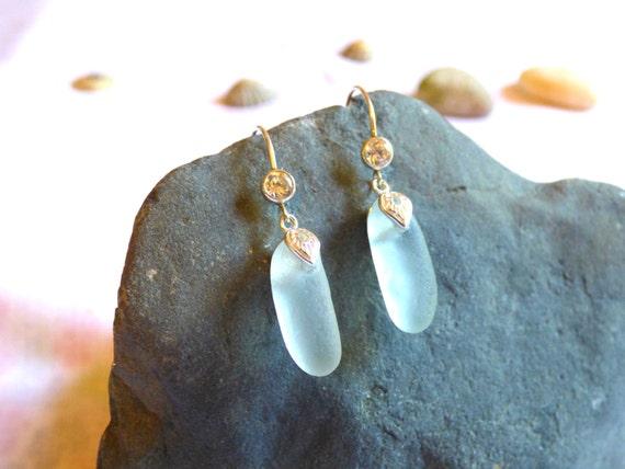 Sea Glass & Cubic Zirconia Sterling Silver Earrings - EH16001