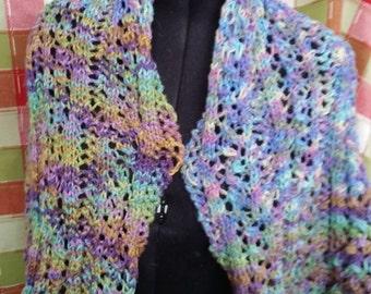 handknittted lace work wrap prayer shawl