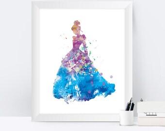 Cinderella Art Print Cinderella Watercolor Disney Princess Cinderella Disney Wall Art Cinderella Watercolor Cinderella Poster Nursery Gift