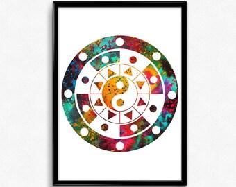 Mandala yin yang etsy for Decoration murale yin yang