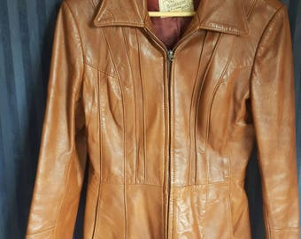 Vintage 60s 70s leather jacket, size medium