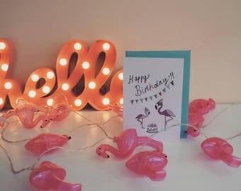 Flamingo - Happy Birthday- Tropical-Birthday Card
