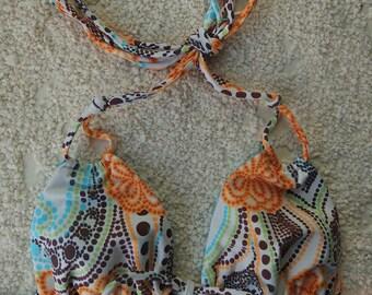 Reversible bikini top/ triangle bikini top/ plus size bikini top/ women swimwear/ flowery bikini top size xs-3xl.