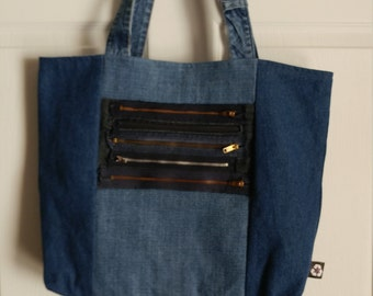 Upcycled fabric bag chic repurposed durable lined material large carry-all market shopping totebag