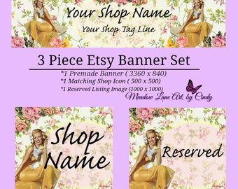 Pinup Girl, 3 piece Etsy Shop Banner Set, 3 Piece Premade Set