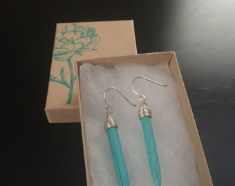 Sterling silver wrapped howlite spike earrings/turquoise howlite earrings/spike earrings/turquoise howlite earrings