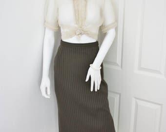 Green high waisted skirt, pencil skirt, 90s wiggle skirt, olive green skirt,  midi skirt, office wear, work skirt, dark green skirt