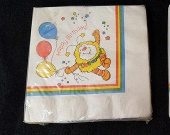 Vintage 1983 Rainbow Brite Party Napkins , Rainbow Brite Napkins , Rainbow Brite Sprite , Rainbow Brite Party Supplies ,  Free Shipping