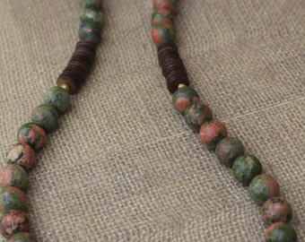Beaded Jewelry Set / Green / Coral / Brown