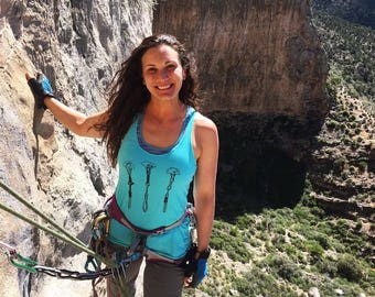 Women's Tank Top Rock Climbing Gear Camalots in Turquoise Blue Loose Fit Lightweight Quick Drying Fitness Hiking Climbing Apparel